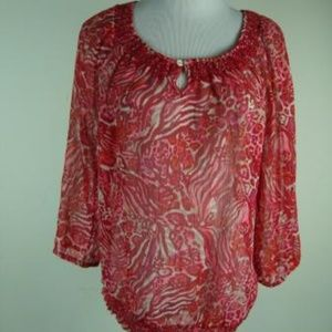 LUCKY BRAND Red Floral AbstractSheer TUNIC TOP S